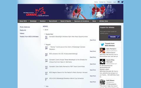 Screenshot of Press Page bobsleighcanadaskeleton.ca - Bobsleigh Canada Skeleton : News - captured Sept. 30, 2014