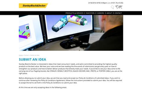Submit an Idea | Stanley Black & Decker