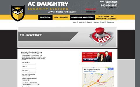 Screenshot of Support Page acdsecurity.com - NJ Home & Business Security Systems, Fire Alarms and Energy Managememtacdsecurity.com - captured Oct. 4, 2014