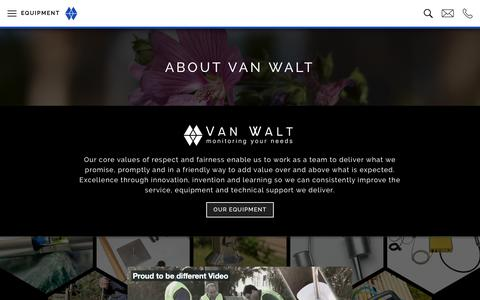Screenshot of About Page vanwalt.com - About us | Proud to be Different, Suppliers of Environmental Equipment - captured July 1, 2018