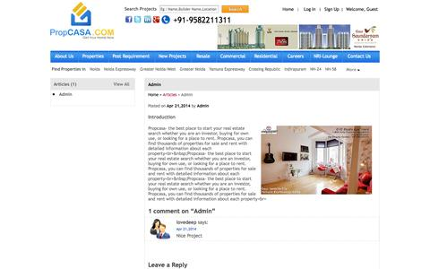 Screenshot of Blog propcasa.com - Admin by PropCASA Consultancy Pvt. Ltd in Noida, Noida Extention, Noida Expressway, Greater Noida, Delhi NCR, Yamuna Expressway in India - captured Sept. 19, 2014