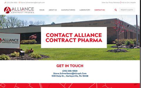 Screenshot of Contact Page alcoph.com - Contact Alliance Contract Pharma | Alliance Contract Pharma - captured Oct. 3, 2018