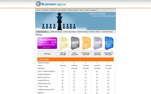 Screenshot of Pricing Page businesslogo.net - Business Logo Design pricing and package information - captured Feb. 8, 2016