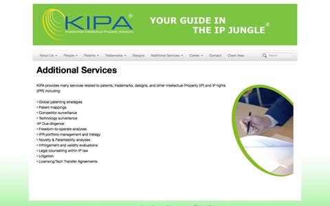 Screenshot of Services Page kipa.se - Krahbichler Intellectual Property Advisors | Additional Services - captured Oct. 6, 2014