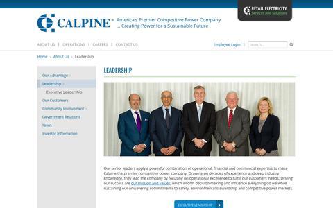 Screenshot of Team Page calpine.com - Calpine | Leadership - captured March 8, 2018