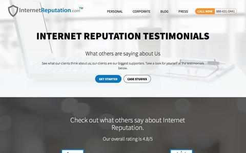 Screenshot of Testimonials Page internetreputation.com - Top Testimonials Online Reputation Management Internet Reputation - captured March 12, 2018