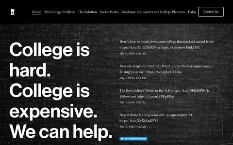 Screenshot of Home Page gametheorycollege.com - Game Theory College Planners - captured Feb. 13, 2020
