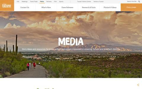 Screenshot of Press Page visittucson.org - Media | Visit Tucson - captured June 25, 2018