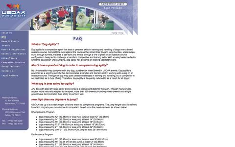 Screenshot of FAQ Page usdaa.com - USDAA - FAQ - captured Oct. 27, 2014