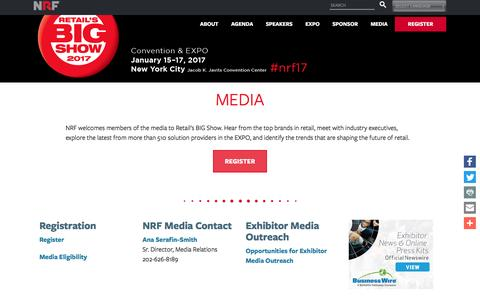 Screenshot of Press Page nrf.com - Retail's BIG Show 2017 | NRF Retail's Big Show Media Pass - captured Nov. 18, 2016