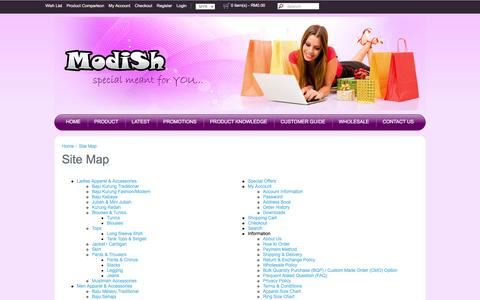 Screenshot of Site Map Page modish.com.my - Site Map - captured May 29, 2016