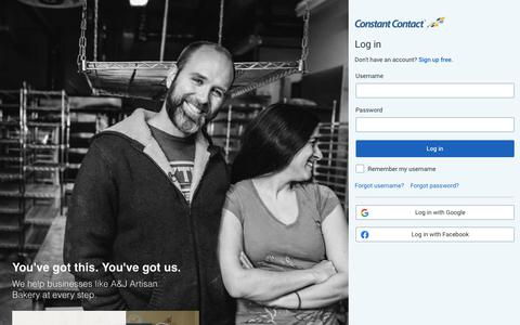Screenshot of Login Page constantcontact.com - Constant Contact : Login - captured Feb. 11, 2020