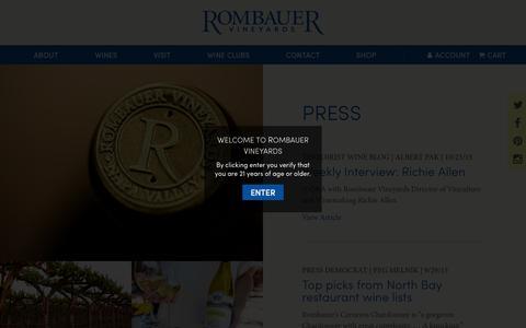 Screenshot of Press Page rombauer.com - Press - Rombauer Vineyards - captured Nov. 22, 2015