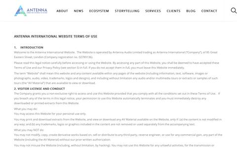 Screenshot of Terms Page antennainternational.com - Terms and Conditions - Antenna International - captured July 28, 2017