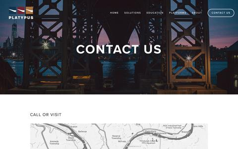 Screenshot of Contact Page senseplatypus.com - Contact Us — Platypus LLC - captured Jan. 29, 2016