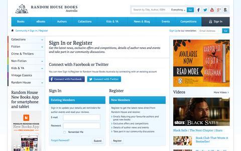 Screenshot of Login Page randomhouse.com.au - Sign In or Register - Community - Random House Books Australia - captured Jan. 23, 2016