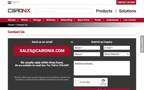 Screenshot of Contact Page caironix.com - Contact Us   Caironix - captured July 15, 2018