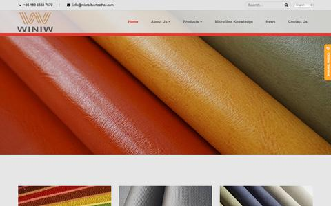 Screenshot of Home Page microfiberleather.com - Microfiber Leather Supplier - Wholesale PU and Faux Leather | WINIW - captured Oct. 19, 2018