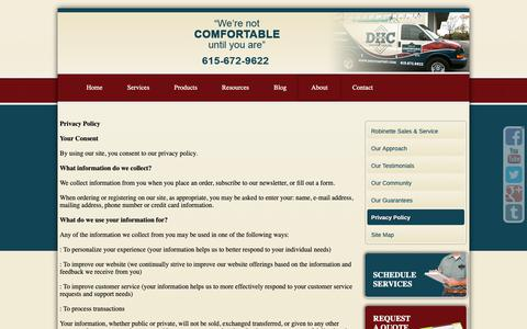 Screenshot of Privacy Page dhccomfort.com - DHC Comfort Privacy Policy - captured Oct. 7, 2018