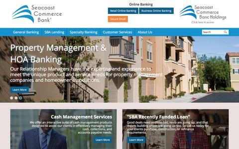 Screenshot of Home Page sccombank.com - Seacoast Commerce Bank - captured Oct. 2, 2016