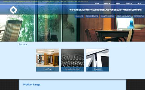 Screenshot of Products Page meshtec.com - High tensile stainless steel wire mesh for security screen product - captured Oct. 27, 2014