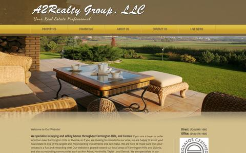 Screenshot of Home Page a2realtors.com - - Homes to Buy and Homes for Sale in the Farmington Hills and Livonia Community - captured Oct. 7, 2015