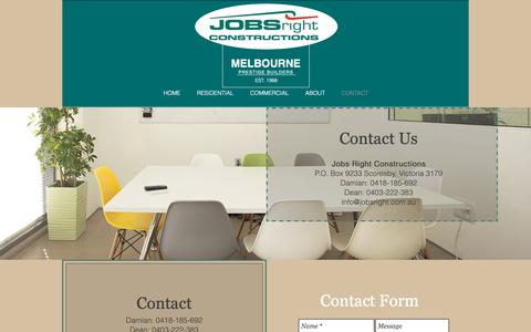 Screenshot of Contact Page jobsright.com.au - CONTACT - captured Oct. 14, 2018