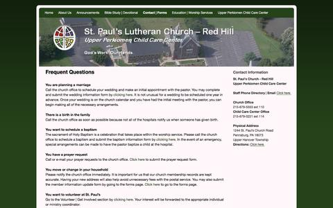 Screenshot of FAQ Page stpaulredhill.org - Frequent Questions | St. Paul's Lutheran Church - Red Hill | Upper Perkiomen Child Care Center - captured June 17, 2016