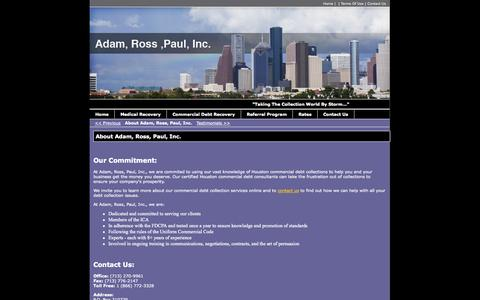 Screenshot of Team Page adamrosspaul.com - About Adam, Ross, Paul, Inc. - Houston, TX - Commercial Debt Collection Specialists - captured Oct. 4, 2014