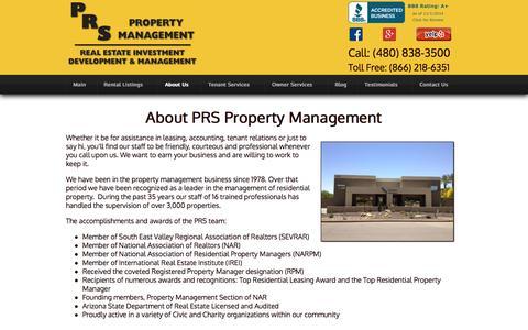 Screenshot of About Page prsrentals.com - About PRS Property Management in Chandler Arizona - captured Nov. 1, 2014
