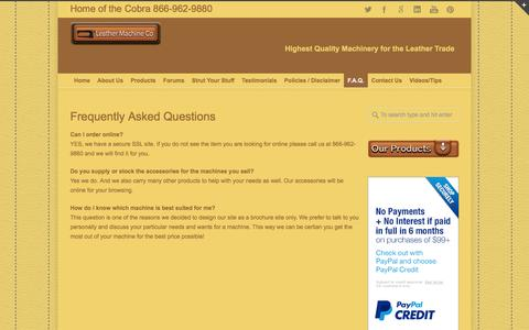 Screenshot of FAQ Page leathermachineco.com - Leather Machine Co Frequently Asked Questions Cobra Leather Stitching Machines | Leather Machine Co - captured Nov. 5, 2016