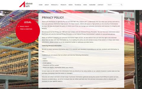 Screenshot of Privacy Page aboveleft.com.au - Privacy Policy - Above Left - captured Sept. 30, 2014