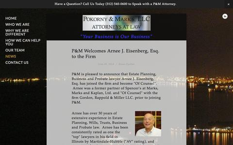 Screenshot of Press Page pokornymarks.com - News — POKORNY & MARKS, LLC - captured Oct. 1, 2014