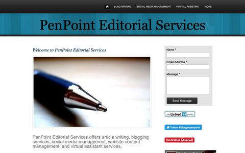 Screenshot of Home Page penpointeditorial.com - Welcome to PenPoint Editorial Services - captured Sept. 27, 2018