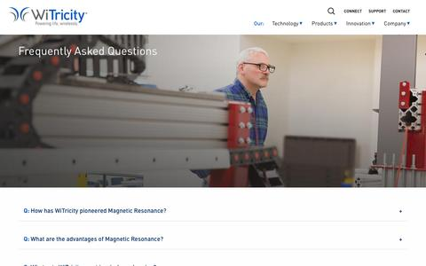 Screenshot of FAQ Page witricity.com - FAQ - WiTricity - captured Feb. 11, 2017