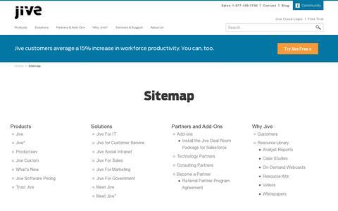 Screenshot of Site Map Page jivesoftware.com - Sitemap | Jive Software - captured July 20, 2014