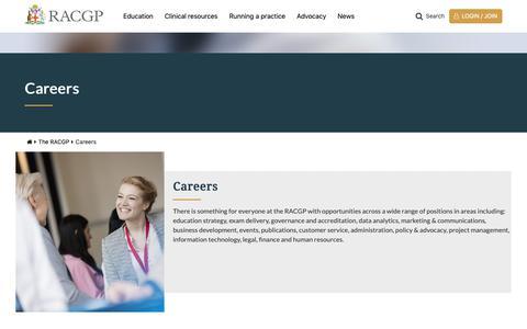 Screenshot of Jobs Page racgp.org.au - RACGP - Careers - captured Nov. 9, 2018