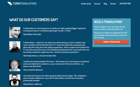 Screenshot of Testimonials Page turbotranslations.com - What do our customers say? - captured Aug. 11, 2015