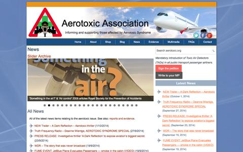 Screenshot of Press Page aerotoxic.org - News - Aerotoxic Association - captured Oct. 4, 2014