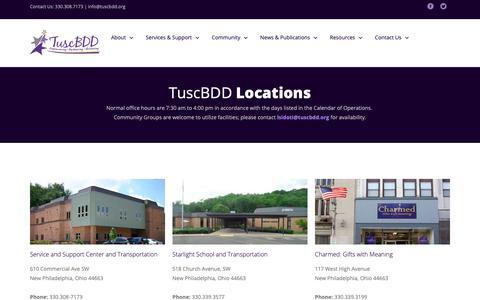 Screenshot of Locations Page tuscbdd.org - TuscBDD Contact Information - captured Oct. 27, 2018