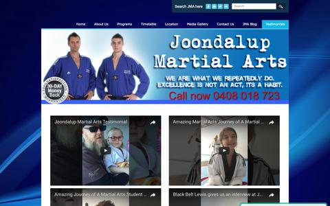 Screenshot of Testimonials Page joondalupmartialarts.com - Testimonials - Joondalup Martial Arts - captured June 8, 2017
