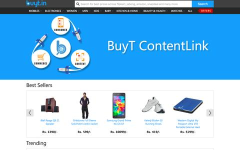 Screenshot of Home Page buyt.in - buyt.in : Online price comparison Mobile, Cameras, Lifestyle & more Online India - captured Jan. 14, 2016