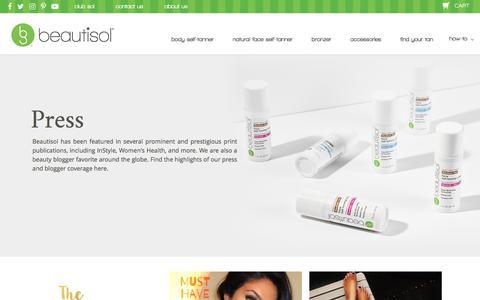 Screenshot of Press Page beautisol.com - Press - captured Aug. 1, 2018