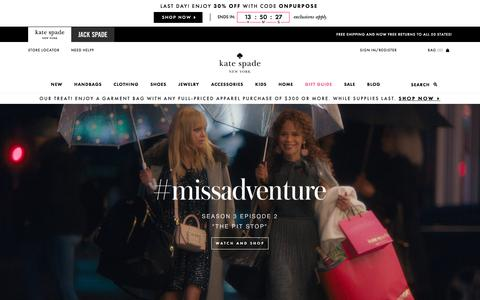 Screenshot of Home Page katespade.com - Kate Spade New York – Handbags, Clothing, Jewelry and All Your New Favorites! - captured Nov. 12, 2017
