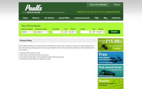 Screenshot of Privacy Page paullsvehiclerental.co.uk - Privacy | Paull's Vehicle Rental - captured Sept. 30, 2014