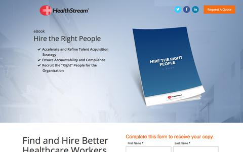 Screenshot of Landing Page healthstream.com - Free eBook: Hire the Right People - captured June 17, 2017