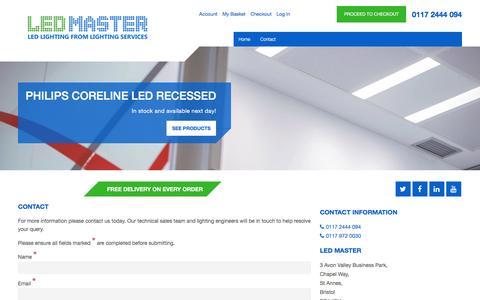 Screenshot of Contact Page led-master.co.uk - LED Master - captured Dec. 5, 2015