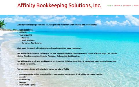 Screenshot of Home Page affinitybookkeeping.ca - Affinity Bookkeeping Solutions, Inc. - Home - captured Oct. 3, 2018