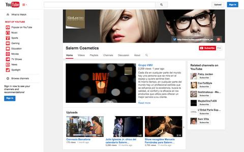 Screenshot of YouTube Page youtube.com - Salerm Cosmetics  - YouTube - captured Oct. 23, 2014