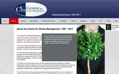 Screenshot of About Page managingstress.com - About the Centre for Stress Management - captured July 22, 2017